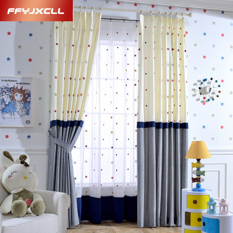 Blue Star tulle for Children Korean Cartoon Printed Blackout Curtains for the Bedroom Window Curtains for Living Room