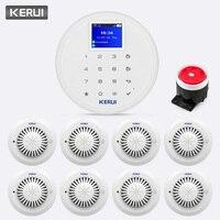 KERUI 433 МГц W17 Беспроводной GSM Wi Fi сигнал Системы Дым пожарный детектор внутренней безопасности охранная дистанционного Управление вызова наж