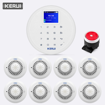 W17 KERUI 433 MHz Sem Fio GSM Sistema De Alarme De Wi-fi Remoto Assaltante da Segurança Home Detector de Fumaça de Incêndio Alarme de Chamada de Controle De Impulso kit