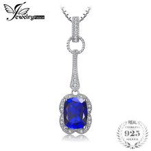 JewelryPalace Elegant Rectangle 2.9ct Created Sapphire Pendant 925 Sterling Silver Brand Jewelry For Women Without a Chain(China)