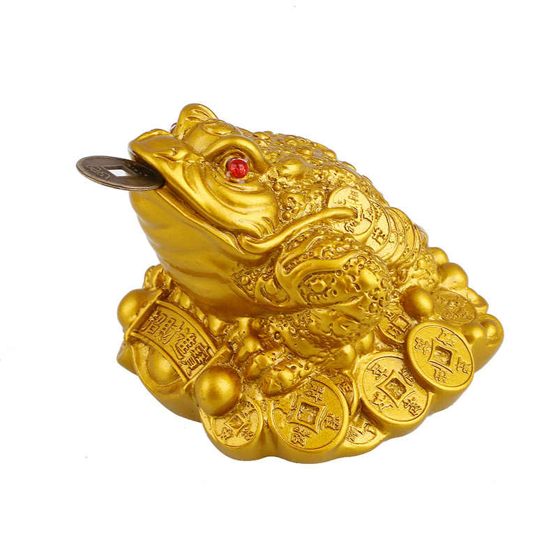 FORTUNATO Feng Shui Rospo Decorazione Artigianato Denaro Fortuna Ricchezza Cinese Oro Rana Rospo Moneta Home Office Decor Ornamenti Del Desktop Regalo