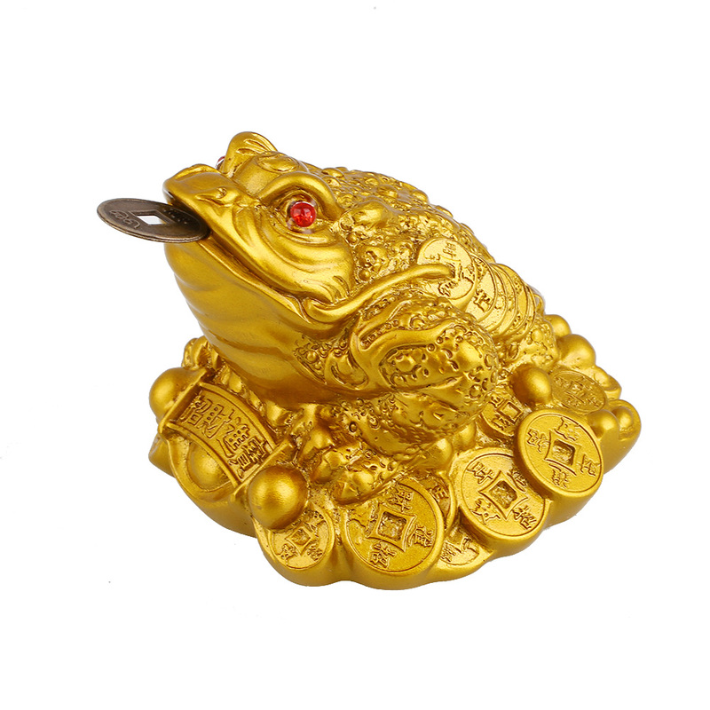 LUCKY Feng Shui Toad Decoration Crafts Money Fortune Wealth Chinese Gold Frog Toad Coin Home Office Decor Desktop Ornaments Gift