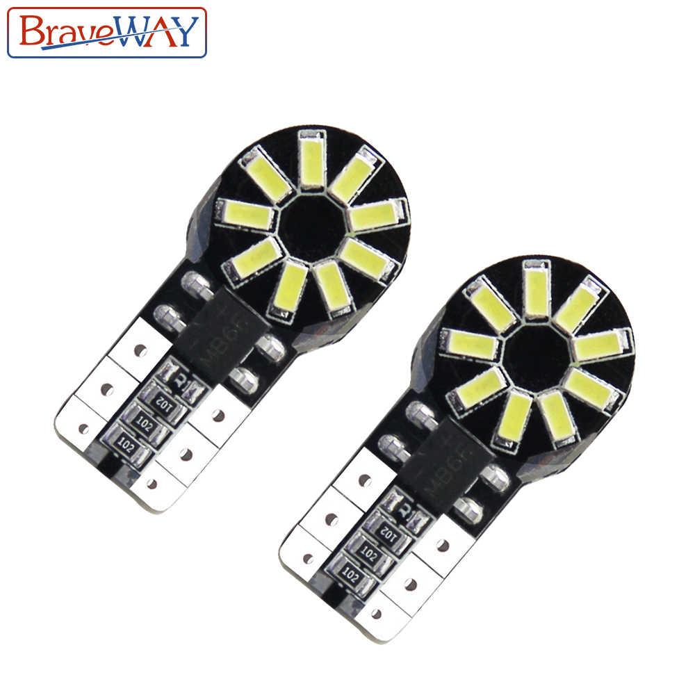 Braveway 2 Pcs W5W Lampu Sein LED Bohlam Lampu Mobil 6000K Clearance Istirahat Lampu Dashboard Membaca Pintu Lampu bohlam DC 12V