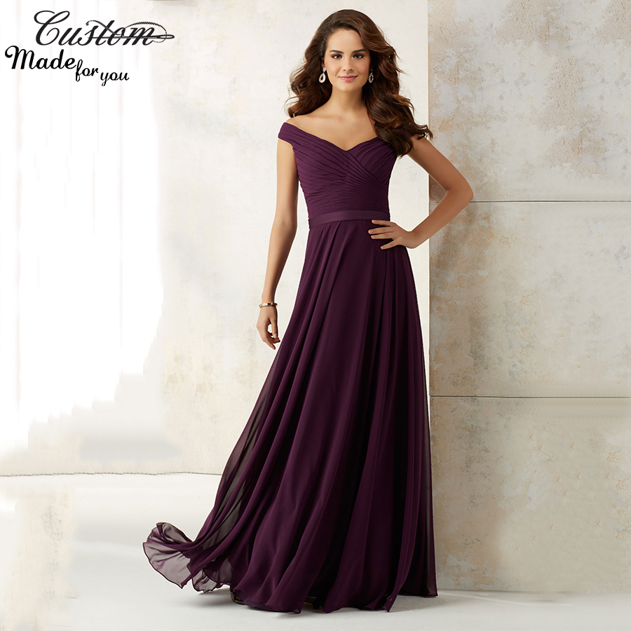 Elegant a line cheap wedding party dress plum chiffon long for Plus size wedding dresses with color and sleeves