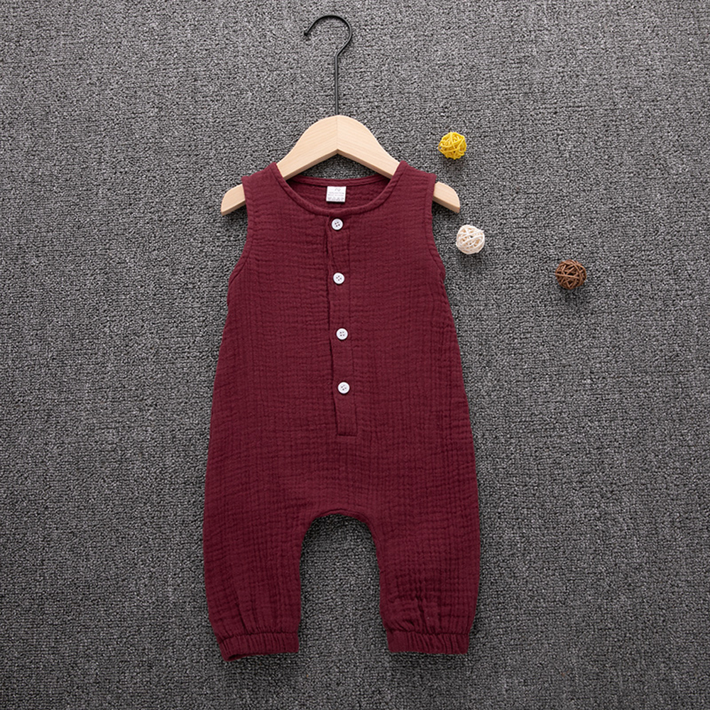 HTB1HFfVNQzoK1RjSZFlq6yi4VXaG 2019 Children Summer Clothing Cute Newborn Infant Baby Boy Girl Solid Romper Sleeveless Jumpsuit Outfits Cotton Soft Clothes