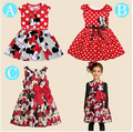 Free shopping 2016 New summer dress Minnie Mouse Dress girls clothes printing dot sleeveless dress girl fashion good quality
