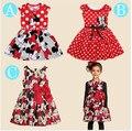 Free shopping 2016 Novo vestido de verão Vestido de Minnie Mouse meninas roupas dot impressão sem mangas do vestido da menina de moda de boa qualidade