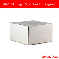 1PCS Block 50x50x25mm N52 Super Strong Rare Earth Magnet Permanent N52 Magnets 50 50 25MM