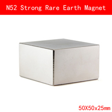 1PCS block 50x50x25mm N52 Super Strong Rare Earth Magnet Permanent Magnets 50*50*25MM
