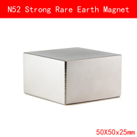 1PCS block 50x50x25mm N52 Super Strong Rare Earth Magnet Permanent N52 Magnets 50*50*25MM