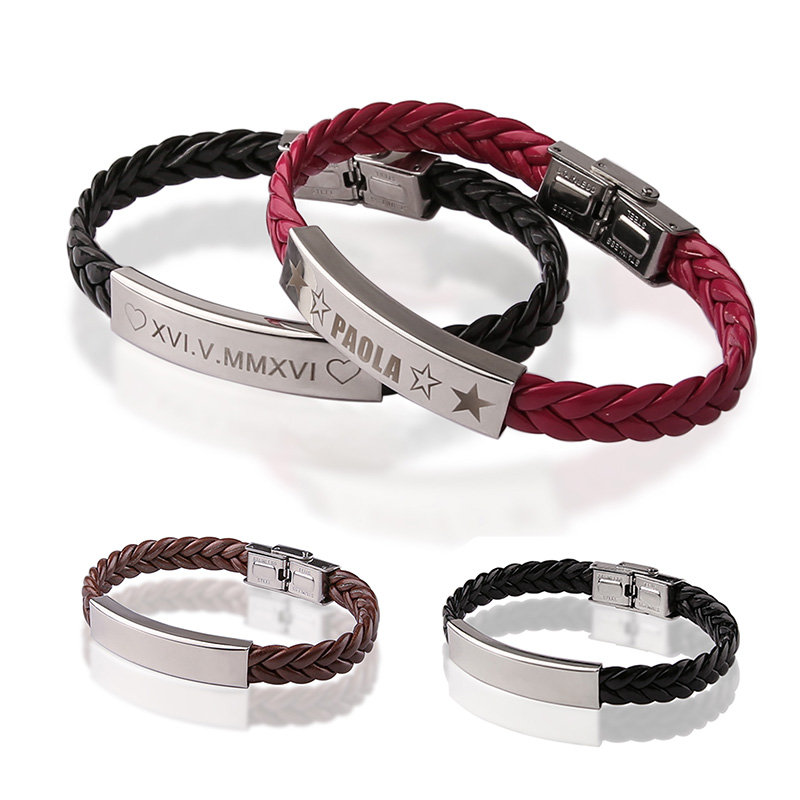 Genuine Leather Bracelets For Women Men Engraved Id Bracelet Personalized Name Stainless Steel Customized Logo In From