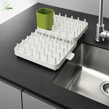 Фотография YI HONG Hot Sales Adjustable Cutlery Dishes Rack Draining Tableware Storage Holder Rack A1216c