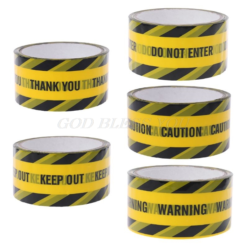 1 Roll 25m Yellow Warning Tapes Black Twill Caution Mark Work Safety Adhesive Tapes DIY Sticker