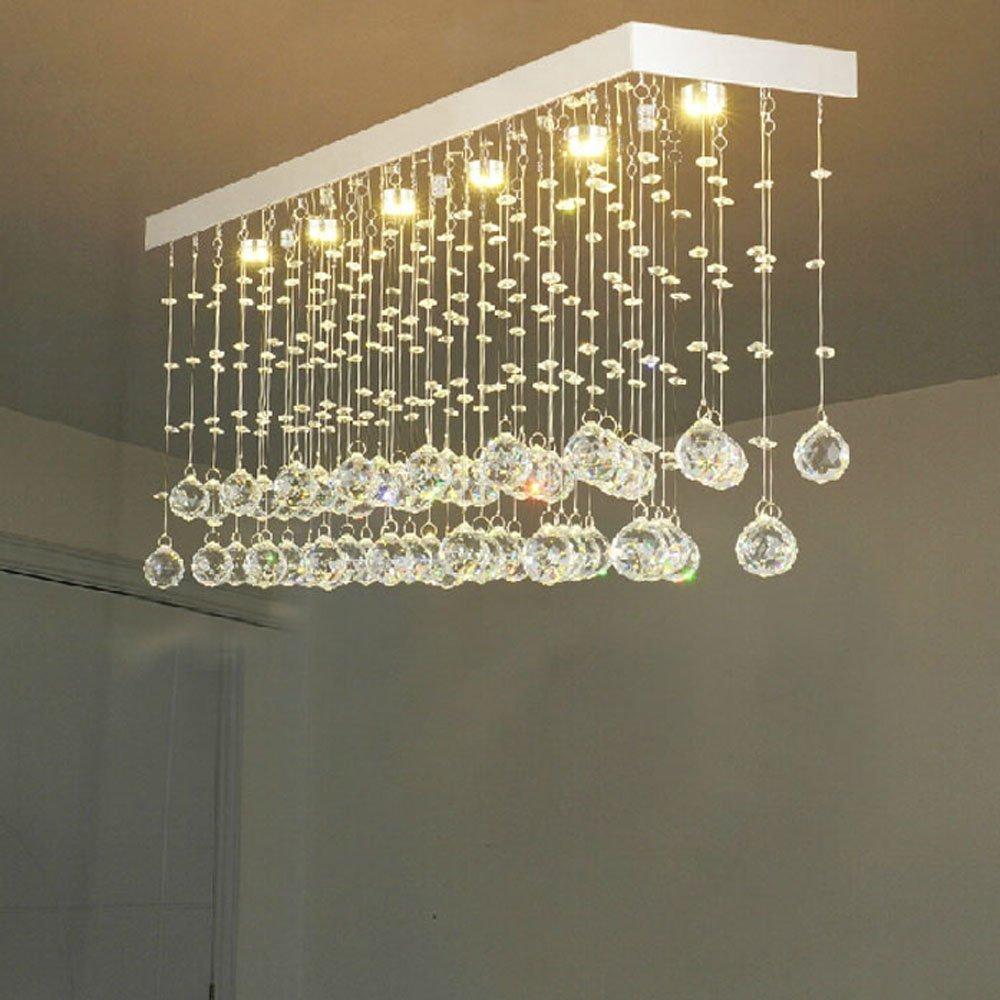 Modern Restaurant Rectangular Chandeliers K9 Crystal Lamp LED Wave Crystal Light Bar Restaurant Living Room Lights 110V-260V kzj 108p k9 rectangular prism