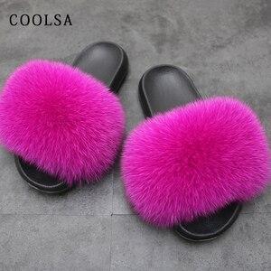 Image 3 - Letnie damskie futrzane sandały prawdziwy lis kapcie futrzane kobiece futrzane solidne kryte klapki sandały plażowe miękkie puszyste futro slajdy