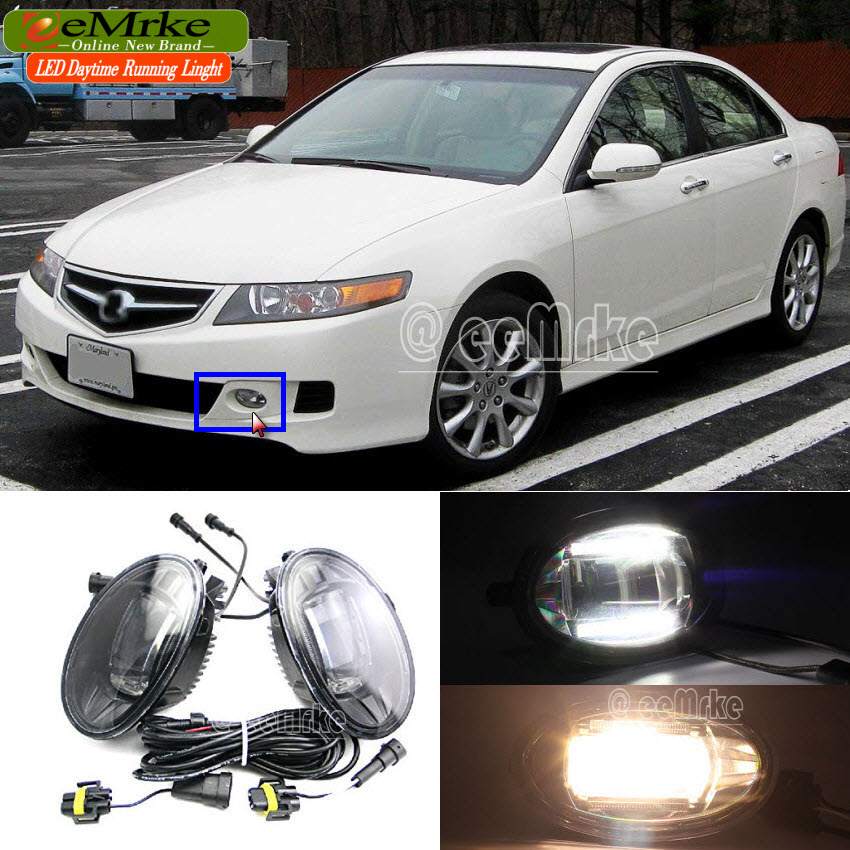 eeMrke Car Styling Led DRL For Acura TSX 2006 2007 2008 2in1 LED Fog Lights With Q5 Lens Daytime Running Lights eemrke car styling for opel zafira opc 2005 2011 2 in 1 led fog light lamp drl with lens daytime running lights