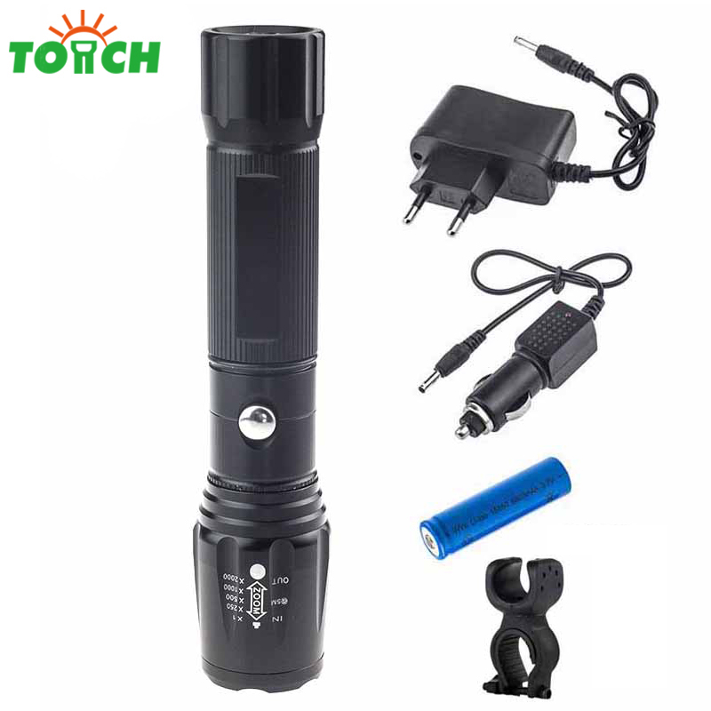 3800lm Cree xml T6 Bulb Hand Torch Telescopic Focus Flashlight Tactical Rechargeable 18650 Camping Lamp with Car Charger