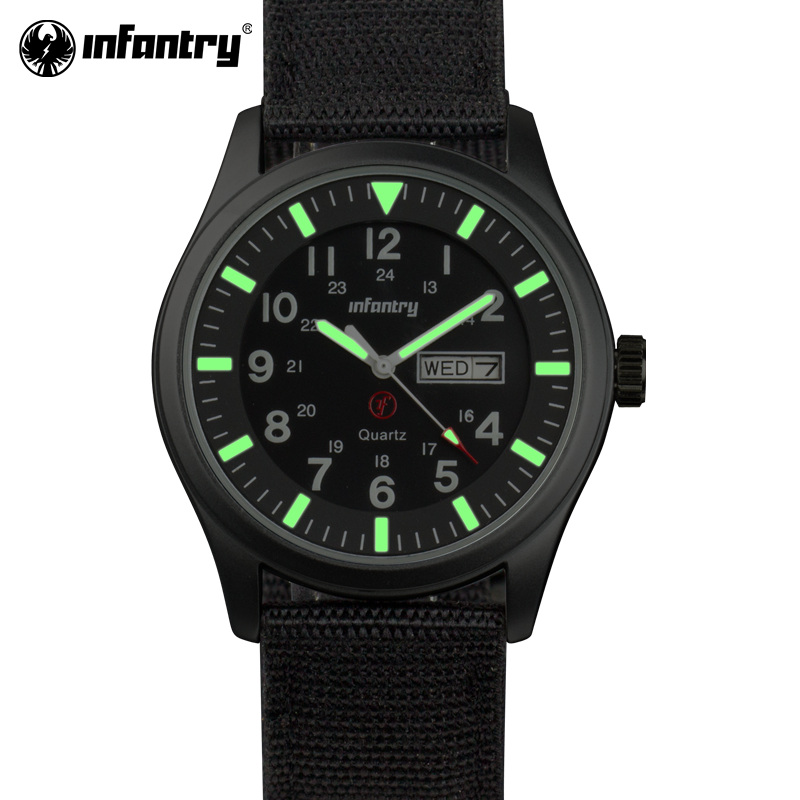 INFANTRY Men Watches Luminous Military Army Analog Date Day Sport Watch Nylon Strap Male Clock Quartz Watch Relogio Masculino abcm2 бермуды