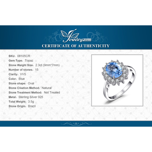 Image 5 - JPalace Princess Diana Genuine Blue Topaz Ring 925 Sterling Silver Rings for Women Engagement Ring Silver 925 Gemstones Jewelry