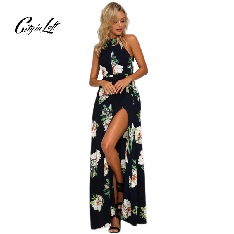 City 2018 Summer New Sexy Shoulder Floral Print Long Maxi Split The Fork Dress Women Hollow Out Hanging Neck Party Beach Dresses