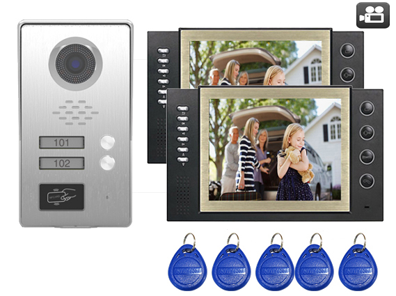 SMTVDP TFT LCD Color 8Video Door Phone Doorbell w/t Record IR Intercom Home Security Video System FRID Camera For 2-Apartments