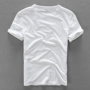 Image 2 - Cartoon sticknähte leinen kurzarm T shirt männer marke casual rundhalsausschnitt elastische weiß baumwolle männliche t shirt camisa