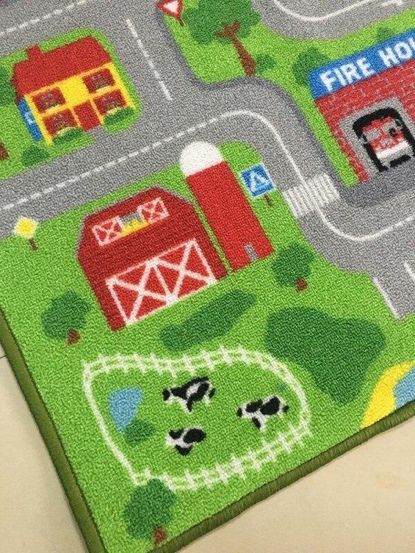 Routes pistes en ville ville tapis de jeu pour enfants garçon fille tapis extra grandes sortes pour salle de jeux vert meilleur aimé tapis tapis de jeu - 4