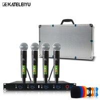 wireless microphone professional karaoke microphone UHF studio system 4 channel lapel Handheld Headset KTV dynamic mic Karaoke