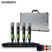 Professional wireless metal microphone system UHF 4 channel head wear lapel Handheld Headset KTV dynamic mic Karaoke KT400