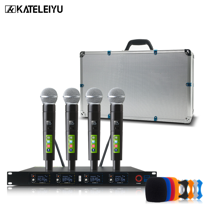 Professional wireless metal microphone system UHF 4 channel head wear lapel Handheld Headset KTV dynamic mic Karaoke KT400 ur6s professional uhf karaoke wireless microphone system 2 channels cordless handheld mic mike for stage speech ktv 80m distance