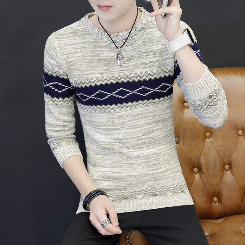 New Fashion Fall Sweater, Men's Self-cultivation, Underdress, Student Jacquard Sweater, Men's Long Sleeves
