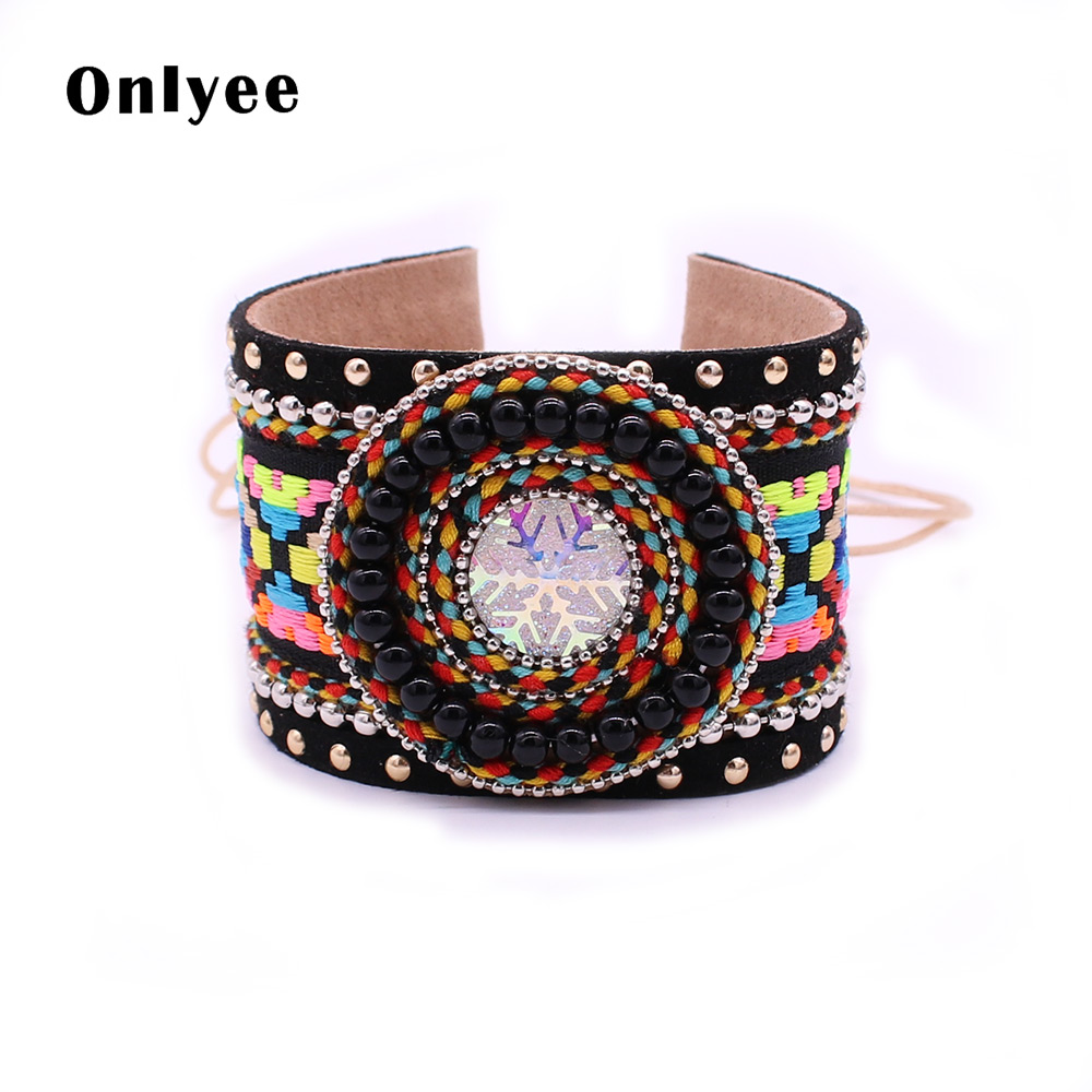 Onlyee New Bohemian Handmade Ornaments Snowflake Color Embroidered Pattern Bracelet & Bangles Gypsy Leather Friendship Bracelet