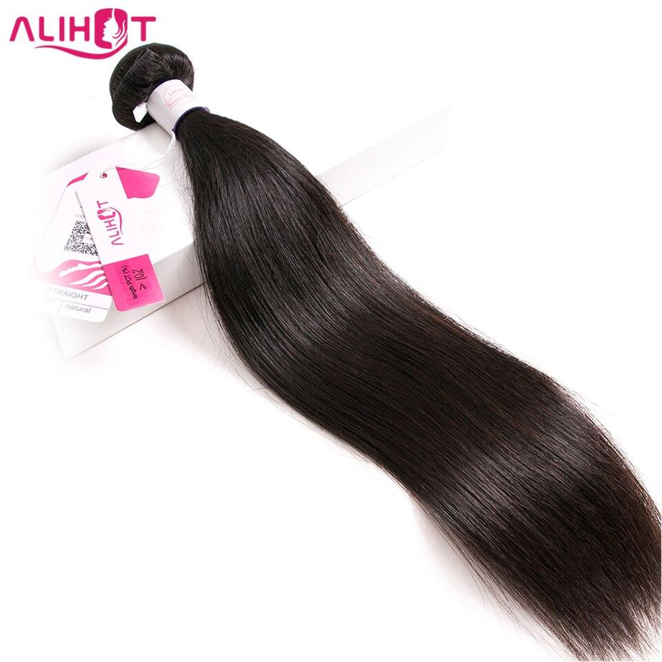 Али Горячие прямые волосы индийские волосы Связки с закрытием 8-28 дюймов натуральный Цвет человеческих волос 3 ткань с 4*4 закрытия шнурка