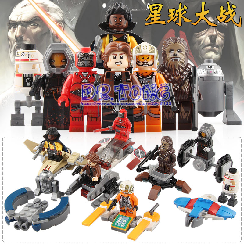 все цены на DR.TONG 80PCS Star Wars Luke Skywalker Han Solo Robot Spaceship Action Figure Building Blocks Bricks Toys for Children SY1126