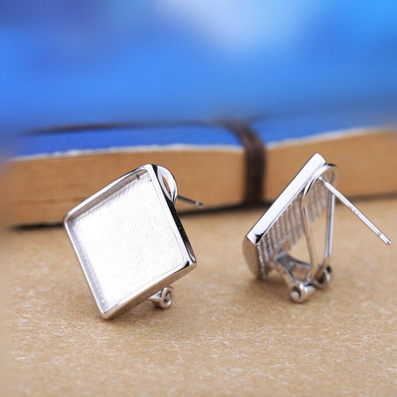 925 En Argent Sterling Boucles D'oreilles Ambre Agate Boucles D'oreilles Clip Femmes pour Princesse Cabochon 13x13mm Semi Montage Fine Jewelry en gros