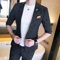 Primavera e verão de alta qualidade da moda estilo britânico meia manga terno masculino magro meia manga terno x73-p130
