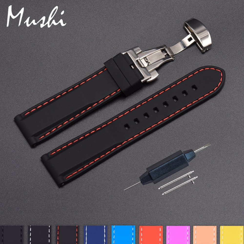 Silicone Watch Strap Rubber Wrist Watch Bracelet with Stainless Steel Butterfly Buckle Clasp 18mm 20mm 22mm 24mm Watch Strap цена и фото