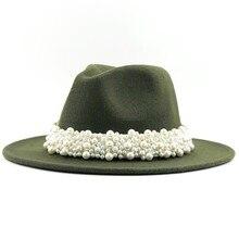 New Women Men Wool Fedora Hat With pearl Ribbon Gentleman Elegant Lady Winter Au