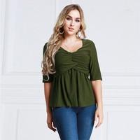 Zmvkgsoa Camisas Feminina Women Blouses Shirts 2018 Spring Ruched Tops Casual Blouse Loose Shirt Blusas Plus