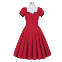 Mulheres Do Vintage Sexy Vestido Vermelho Mangas Curtas Plissadas Retro Lace-Up Do Joelho-Comprimento Vestidos de Rockabilly Verão Casual Vestidos vestido de Baile