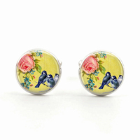 Blue Birds on A Branch Jewelry Bird Cufflinks  Yellow Glass Cabochon Pendant Jewelry  Birthday Gift for Childrens  for Men