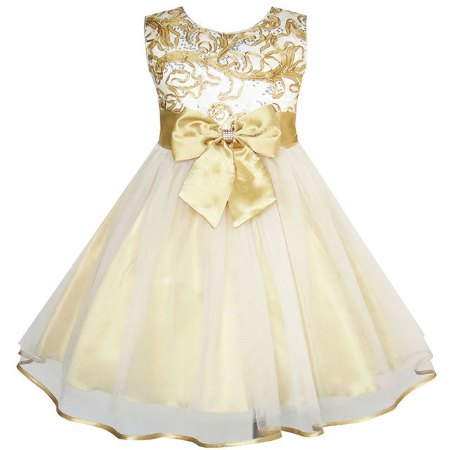 a01d3c7c46bf Flower Girl Dress Bow Tie Champagne Wedding Pageant 2018 Summer Princess  Party Dresses Children Clothes Size 2-10
