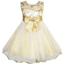 df802250e39eb1c Sunny Fashion платья для девочек платье Цветок Лук Наконечник шампанское  Свадьба Карнавальное шествие(China)