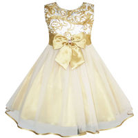 Sunny Fashion Flower Girls Dress Bow Tie Champagne Wedding Pageant 2016 Summer Princess Party Dresses Children