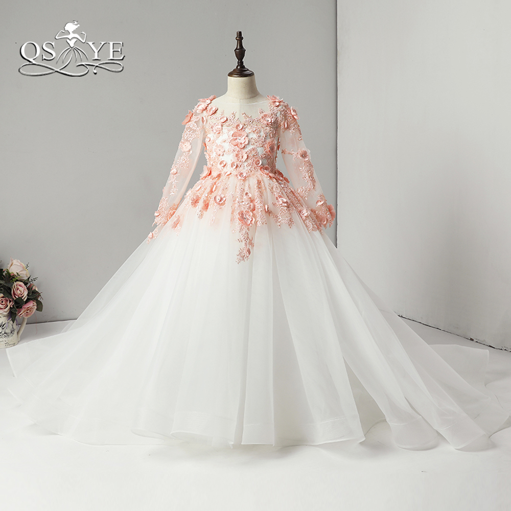 QSYYE 2018 Ball Gown 3D Floral Lace Flower Girl Dress for Wedding O Neck Bow Appliques Tulle Holy Communion Dress Prom Gown