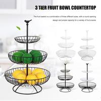 Household 3 Tier Fruit Plate Countertop Metal Fruit Basket Black Vintage Style Tray Stand Home Storage Basket For Kitchen Suppli