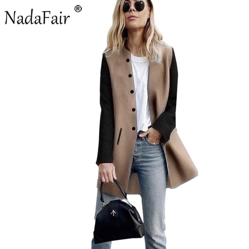 Nadafair Long Sleeve Patchwork Slim Women Casual Autumn Trench Coats