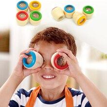 Детский волшебный пчелиный глаз эффект калейдоскоп деревянная игрушка Мульти Призма наблюдение красочный мир деревянные игрушки