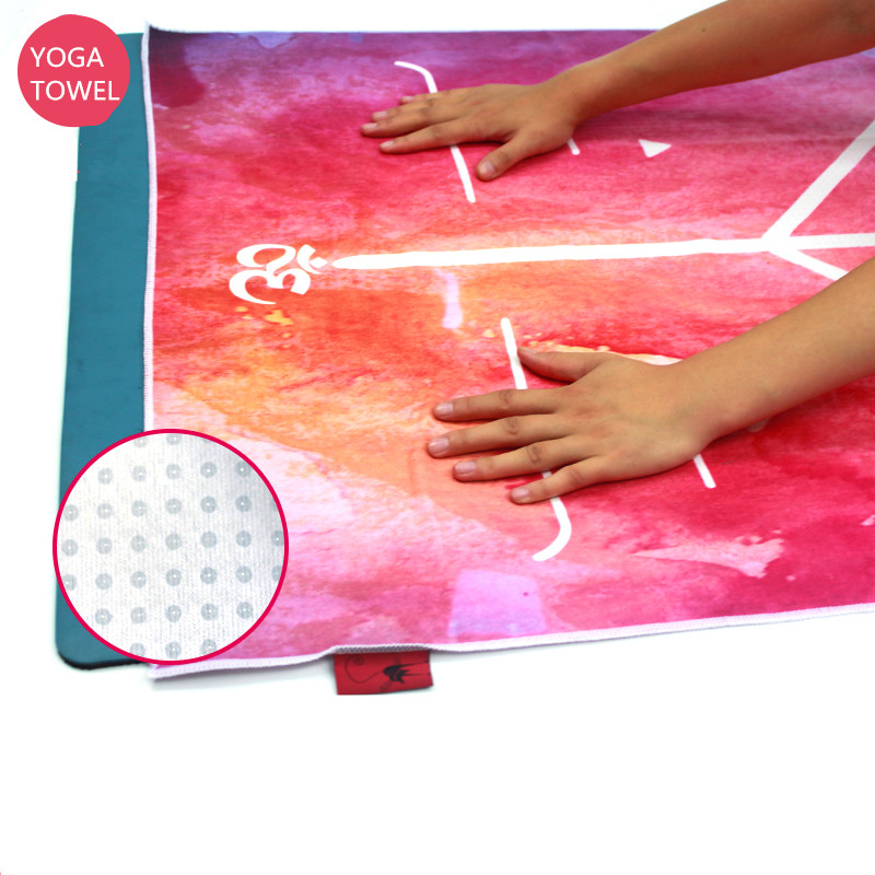 Body Alignment Lines Yoga Mat Towel Silica Gel Particles Anti-skid Urltra-Light Pilates Mat Cover Yoga Towel Yoga Blanket