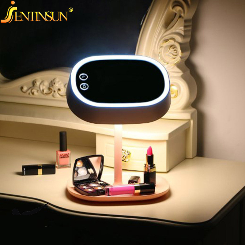 2016 New Fashion Makeup Stand Mirror Rechargable LED Light Desktop Table Bed Lamp Creative Makeup Mirror Night Light Decor Gift new energy saving creative small spotlight led remote control for cabinet light mirror lamp search light bed table light